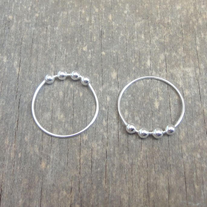 Sterling silver rings with silver balls