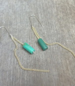 Gold earrings with turquoise stones